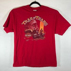 Trail Of Tears Harley Davidson Mens Red XL T-shirt